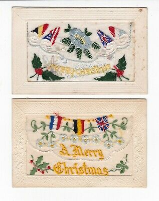 2 x SILK WW1  France Flags postcards - one with insert card