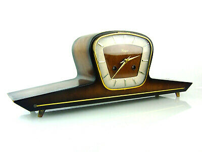 HERMLE Herges chiming antique mantel clock art deco german mid century space age