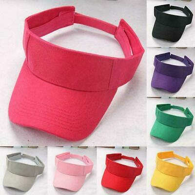 Visor Sun Hat Golf Tennis Beach Men Women Cap Adjustable Sports Plain Color H1Z6