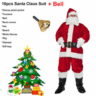 10PCS Set +Bell Santa Claus Father Christmas Suit Fancy Dress Costume Cosplay