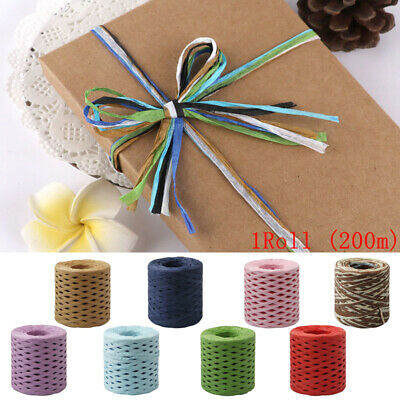 200m DIY Raffia Ribbon Paper Rope Baking Wrapping String Roll Twine Cord