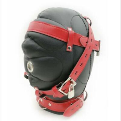 Lockable Faux Leather Gimp Bandage Hood Sensory Deprivation Mask Mouth Gag
