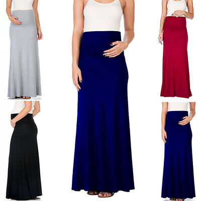 Women High Waist Long Skirt Maxi Maternity Pregnant Solid Holiday Summer Beach