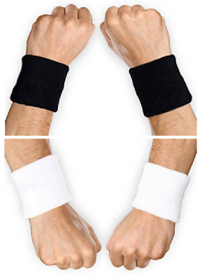 Athletic Cotton Terry Cloth Wrist Bands THICK & COMFY Sweatbands WHITE or BLACK