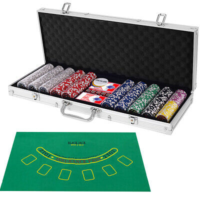 Poker Dice Chip Set 500 Chips Texas Hold'em Cards with Silver Aluminum Case New