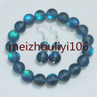 6/8/10/12mm Gray Gleamy Rainbow Moonstone Round Beads Bracelet Earrings Set 7.5""