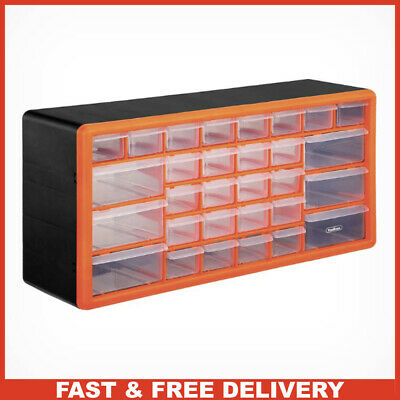 Plastic 30 Drawer Storage Organiser with Clear Drawers for Nuts Bolt Screws Nail