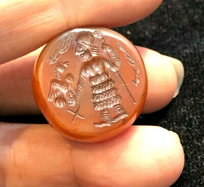 Ancient Carenlian Stamp Dome seal Old Man Holdig Eagle Bird intaglio Big Bead