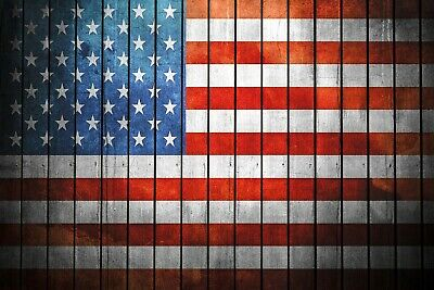 USA American Flag Retro Wood plank Style Metal wall sign plaque, bar pub mancave