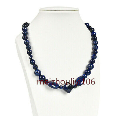 "Real Natural 6mm Dark Blue Egyptian Lapis Lazuli Gemstone Beads Necklace 18"" AAA"