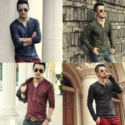 Men Casual Solid V Neck Long Sleeve Pullover T-shirt Top WT88