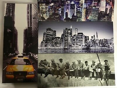 """4 Different New York Canvas designs  24""""x 10"""" On A Wooden Stretcher Frame"""