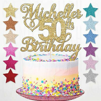 Personalised 50th Happy Birthday Cake Topper Any Age Any Name 18th 21st 30th 40