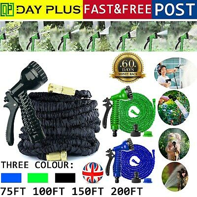75-200FT Expandable Flexible Garden Magic Water Hose Pipe Spray Gun Heavy Duty