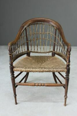 Antique Walnut Rustic Country Woven Cane Chair