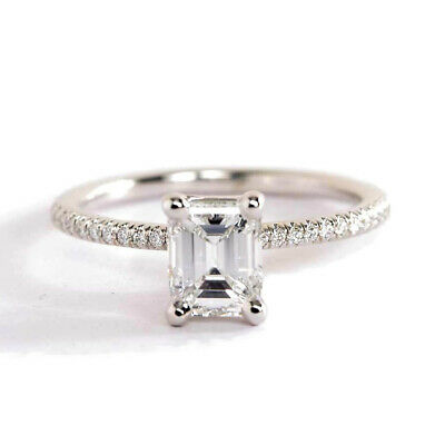 1.10Ct VS2 H Emerald Cut French Diamond Pave Engagement Ring 18K-White Gold