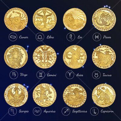 WR 12pcs Gold Plated 12 Constellations Zodiac Commemorative Coin Collection Gift