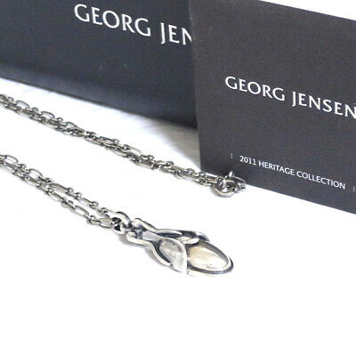 Auth VTG GEORG JENSEN 2011 Heritage Necklace Pendant Sterling Silver 925 in Box