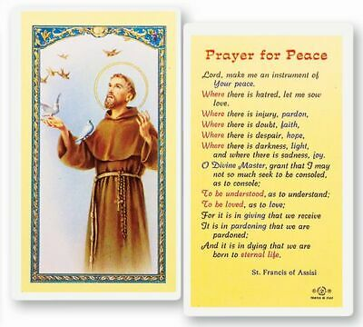 PRAYER FOR PEACE Card Saint Francis of Assisi Catholic
