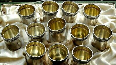 FRANCE: Gorgeous set of 12 cups for liquor in French Sterling Silver in a box