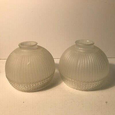 Antique matching pair frosted clear glass shade for floor table lamp fixture