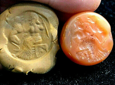 Ancient Carnelian Intaglio Zeus God Traning His Dog Signet Engraved Bead Pendant