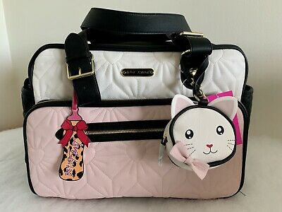 2c4d2072070e NEW BETSEY JOHNSON Pink/Cream Baby Diaper Bag Weekender Tote Travel MSRP  $158