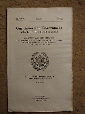 1955 Our American Government 284 Questions & Answers House Document #465
