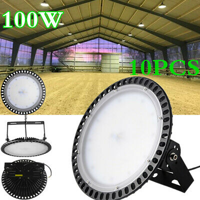 10PCS X 100W Ultra Slim UFO LED High Bay Light Warehouse Factory Gym Lamp 6000K