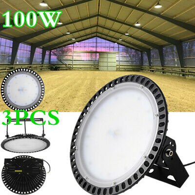3PCS X 100W Ultra Slim UFO LED High Bay Light Warehouse Factory Gym Lamp 6000K