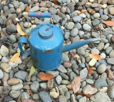 Vintage Eagle USA Oil Can Wood Handle Long Spout Screw Top Turquoise Blue