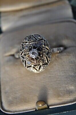 Bague Ancienne Art Deco Or Massif Diamant Antique Solid Gold Diamond Ring