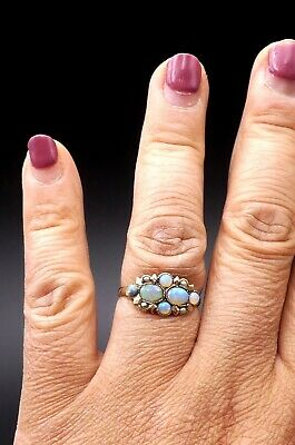 Antique Victorian 10k gold & opal cabochon ring size 7.5