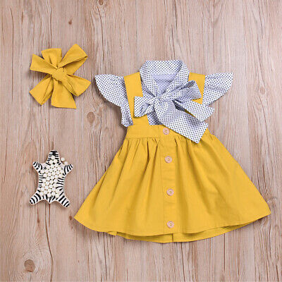 Eg_ 3Pcs/Set Baby Kids Girls Short Sleeve Tops Suspender Skirt Headband Outfit C