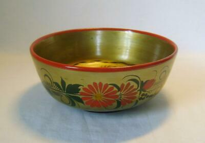 Vintage Painted Turned Wooden Bowl Russian Folk Art: Vibrant Colours