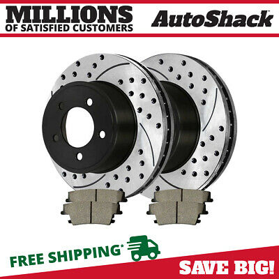 Rear Drilled Slotted Rotors Ceramic Pads for 2005-2014 300 2006-2013 Charger