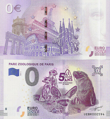 "Billete 0 euros ""PARC ZOOLOGIQUE DE PARIS"" serie 2019"