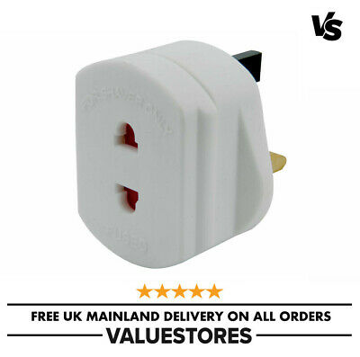 2-Pin To 3-Pin UK Shaver Adapter Plug Socket Converter EU European Euro Europe