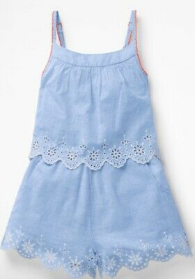 Girls Layered Playsuit Blue Ex Mini Boden  Age 2-16 Years RRP £37