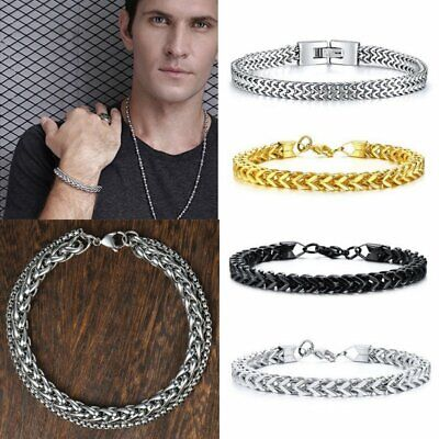 Men's Stainless Steel Hiphop Double Chain Bracelet Chain Link Gold Cuff Bangle