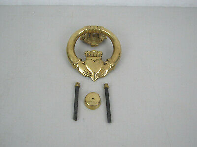 Vintage Solid Brass Door Knocker Claddagh Tradisional  Irish Loyalty Symbol