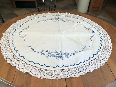 Vintage Linen Round Table Topper, Embroidered Hand Crocheted Lace Trimmed
