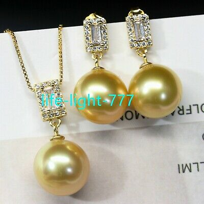 huge AAA 16mm round South Sea gold shell  Pearl Earrings + pendant