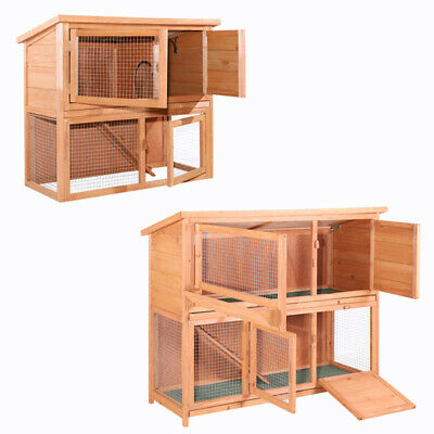 Large 3-4ft Pet Rabbit Guinea Pig Hutch Run Cage TWO Tier with Ramp Runs Wooden