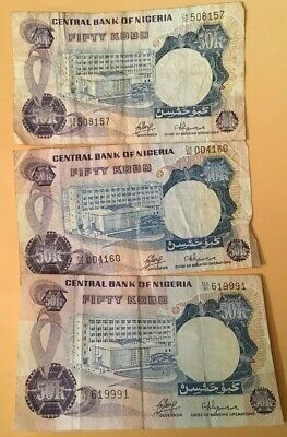 3 x 1973-78 Central Bank of Nigeria 50 Fifty Kobo Banknotes