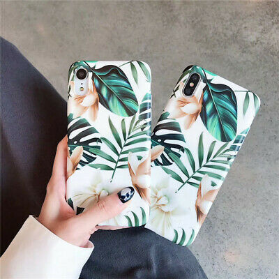 Retro Flower Leaf Soft Phone Case Cover For Apple iPhone 8 Plus X XS Max XR AU
