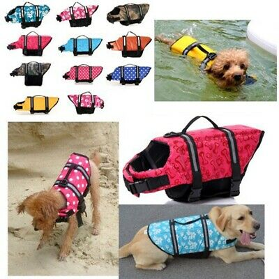 Pet Safety Vest Dog Life Jacket Reflective Stripe Preserver Puppy Swimming #E