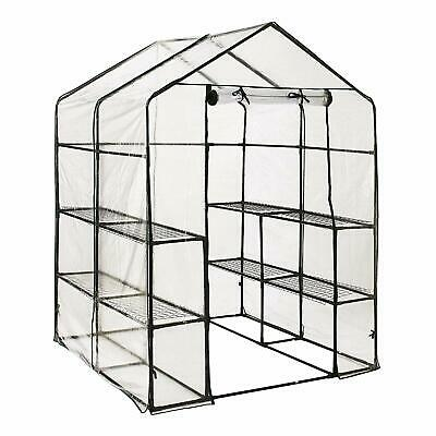 New Walk In Greenhouse with 8 Shelves  PVC Plastic Garden Grow Green House