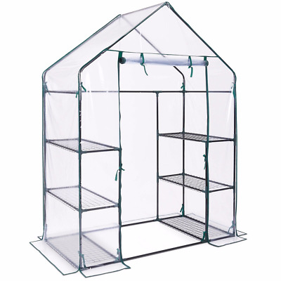 Walk In Greenhouse with 6 Shelves PVC Plastic Garden Grow Green House  UK