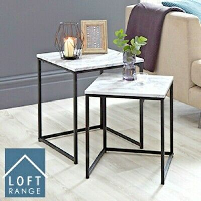 Loft Range Set of 2 Marble Nest of Tables Approx Size 45 x 45 x 52 cm